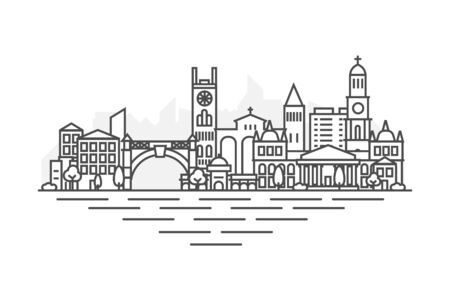 Bridgetown city, Barbados architecture line skyline illustration. Linear vector cityscape with famous landmarks, city sights, design icons. Landscape with editable strokes.