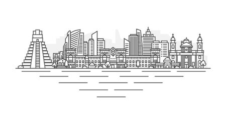 Guatemala City, Guatemala architecture line skyline illustration. Linear vector cityscape with famous landmarks, city sights, design icons. Landscape with editable strokes isolated on white background