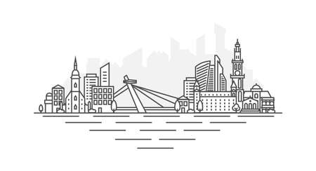Bratislava City, Slovakia architecture line skyline illustration. Linear vector cityscape with famous landmarks, city sights, design icons, with editable strokes isolated on white background.