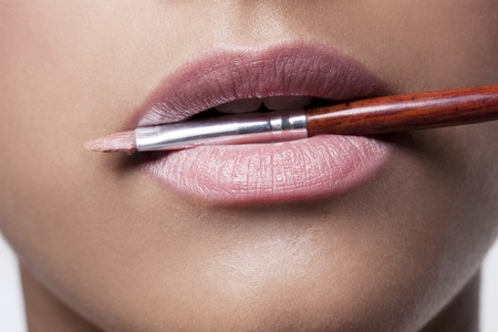 Pink Lips with Brush Stock Photo - 8340610