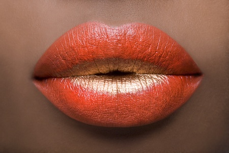 labios rojos: Labios de rojo & dorado