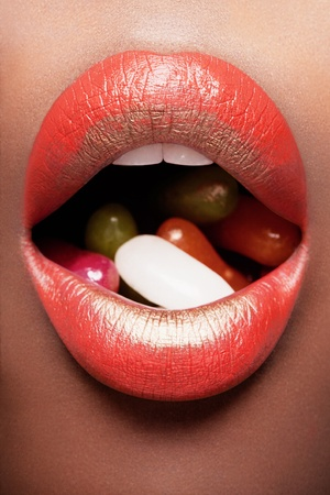 Red & Gold Lips with Jelly Beans photo
