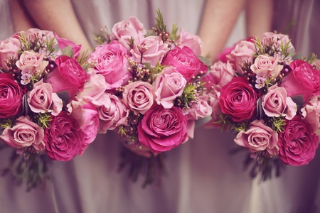 Trio of Rose Posy Wedding Bouquets   Banco de Imagens