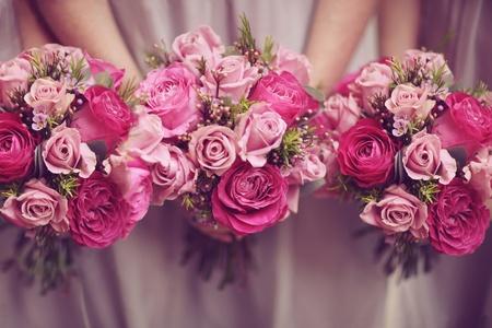 Trio van Rose Posy bruiloft boeketten