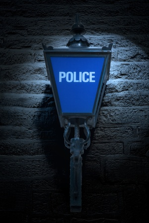 police station: Old British Blue Police Lamp Stock Photo