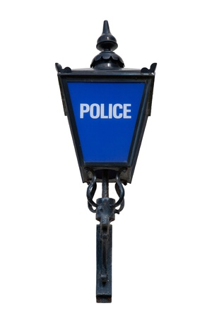Old British Blue Police Lamp Isolated