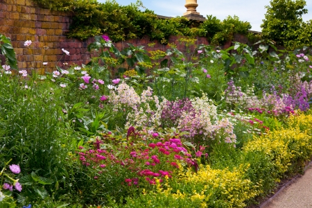 old english: English Herbaceous Garden Border Stock Photo