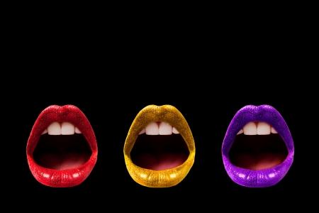 glitter makeup: Trio of Lips - Black Background (Isolated) Stock Photo