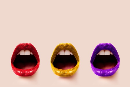 provocative woman: Trio of Lips - Skin Coloured Background (Isolated)