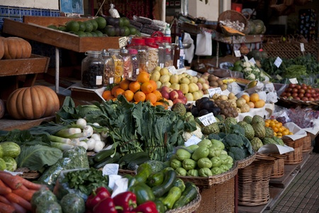 farmers market: Vegetables Displayed on a Market Stall Stock Photo