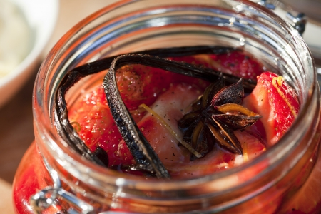 preserving: Strawberries Preserved in a Glass Jar Stock Photo