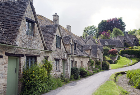 Row of Old Cottages in the Cotswolds, England