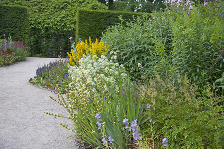 English Herbaceous Garden Border Stock Photo