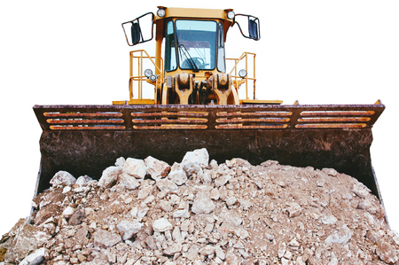 Isolated Buldozer Loaded with Rubble Banque d'images