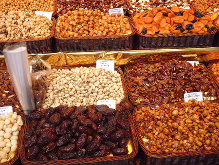 Dried Fruit & Nuts on a Market Stall in Italy