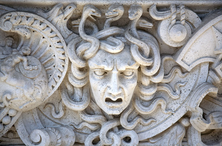 Stone Carved Panel of Medusa