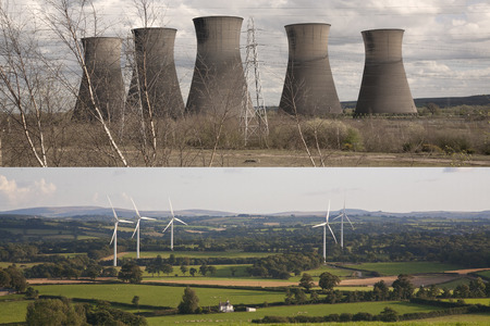 Clean energy and polluting energy generation.   Nuclear power plants and electricity pylons versus wind turbines