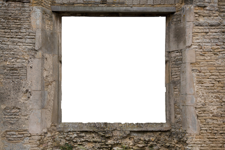Window frame template with white copy space in the hole for image insertion.  View from an old and ancient brick and stone window Stock Photo