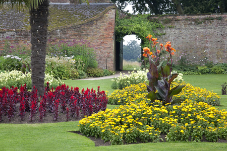 Formal Walled Garden at an Old Historical English Manor House Stock Photo