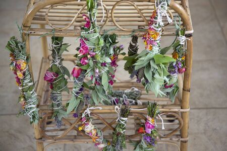 Fresh Sage Smudge Sticks Bound and Hung out for Drying 스톡 콘텐츠