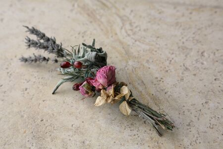 Sage & Lavender Smudge Stick with Dried Roses 스톡 콘텐츠