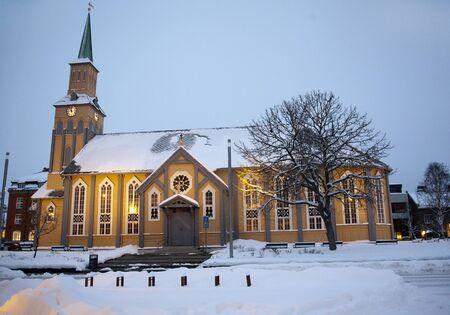 Snow covered Church in Tromso in winter
