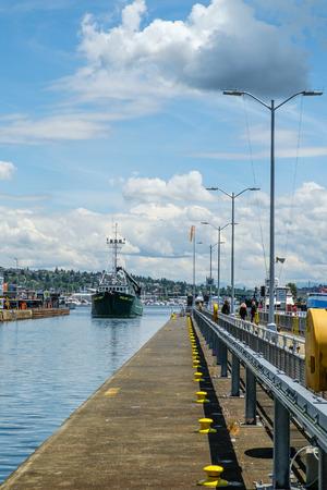 fv: Seattle, WA, USA June 15, 2016: FV Polar Lady entering large lock at Ballard Locks, Seattle, USA