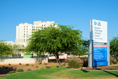 Phoenix, AZ, USA June 11, 2016: Banner University Medical Center hospital. U of A Banner Phoenix Editorial