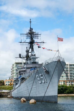 Bremerton, WA, USA August 7, 2016: Decommissioned US Navy destroyer USS Turner Joy serves as museum while permanently docked in Bremerton, Washington