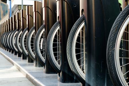 rental: Rental bikes in locked stalls