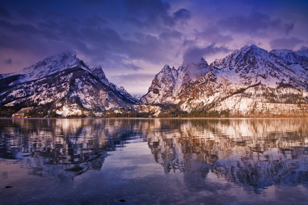 Dawn light on mountains. Jenny Lake, Grand Teton National Park,Wyoming, USA