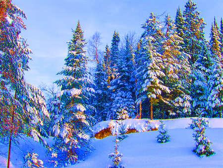log cabin winter: mount tramblant national park, canada