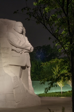 A view of the Martin Luther King Jr  Memorial at night