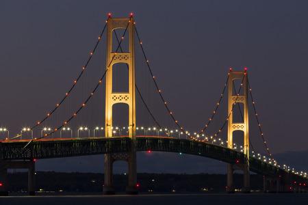 mackinac: Big Mackinac Bridge At Night