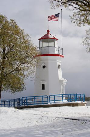 michigan snow: Cheboygan Crib Lighthouse Stock Photo