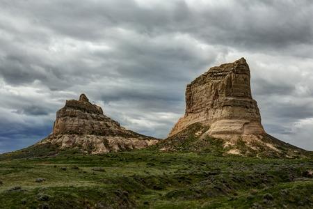 western: Rock Formations In Nebraska Stock Photo
