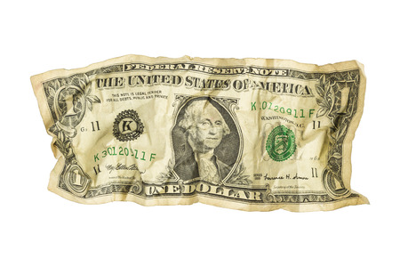 しわくちゃの 1 ドル札