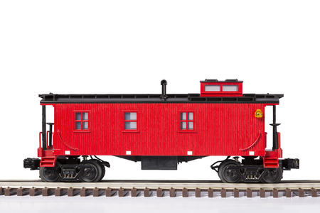 caboose: Red Caboose On Track