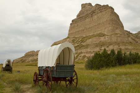Covered Wagon and Rock Formation Scenic