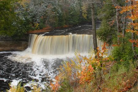upper: Upper Tahquamenon Falls In Autumn Stock Photo