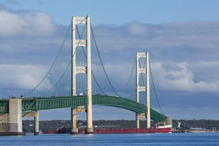 mackinac: Big Mackinac Bridge with Ship