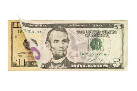five dollar bill: Five Over Ten Dollar Bill