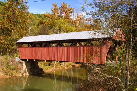 is covered: Hokes Mill Covered Bridge Stock Photo