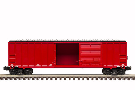 goods train: Red Box Car With Open Door