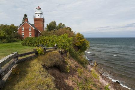 superior: Big Bay Point Lighthouse On Lake Superior Stock Photo