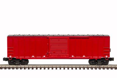 빨간 철도 박스카 스톡 콘텐츠