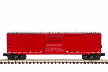goods train: Red Railroad Box Car Stock Photo
