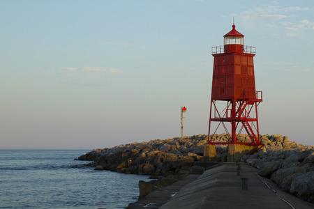 breakwater: Red Breakwater Lighthouse Stock Photo
