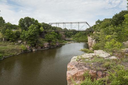 rock creek: Split Rock Creek and Bridge Stock Photo