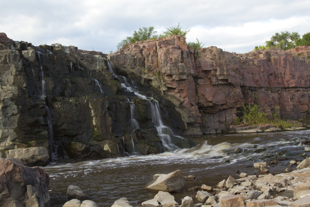 sioux: Sioux Falls Waterfall Stock Photo